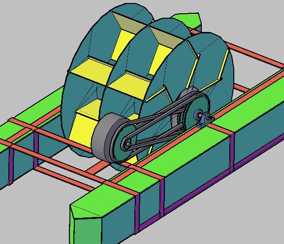 Figura 09 - Turbina Flutuante com multiplicação 25X com 3 carreias em dois eixos