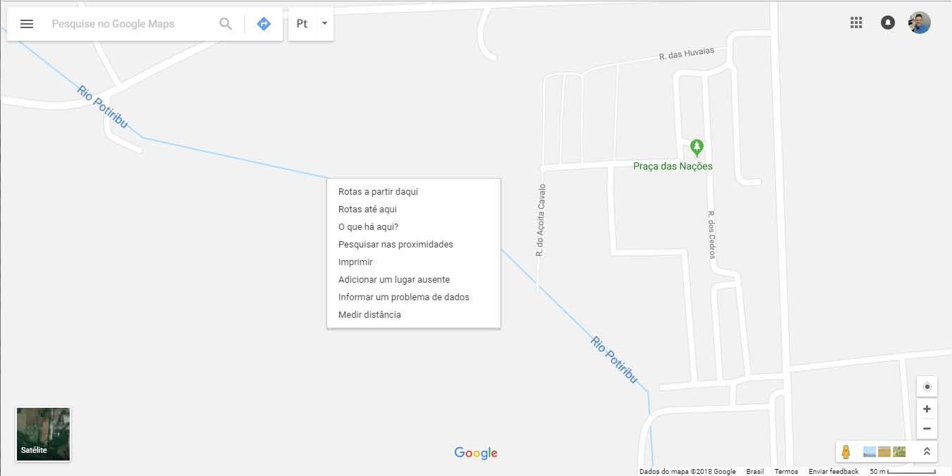Google Maps - clica com o botão direito do mouse