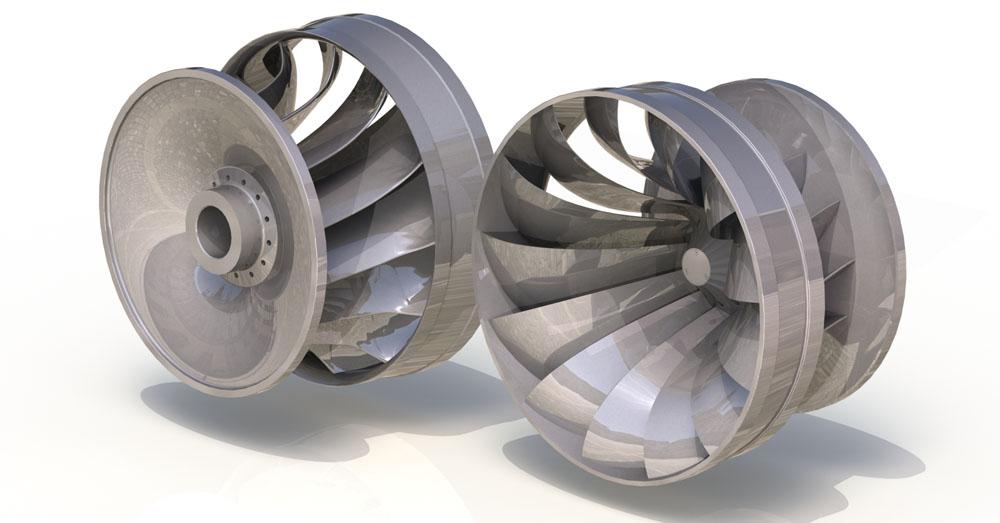 Rotor Francis é um dos modelos das turbinas hidráulicas expostas na imagem