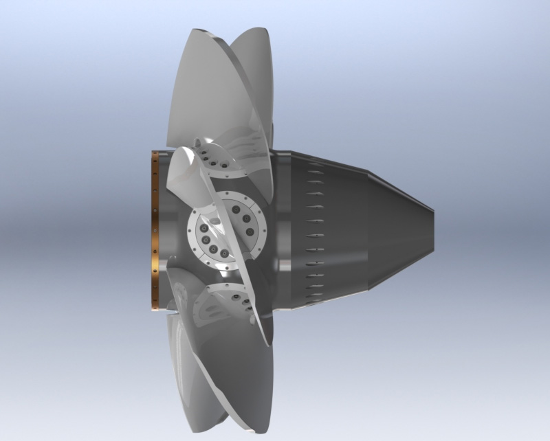 Rotor Kaplan na imagem de perfil como um dos modelos de turbinas hidráulicas