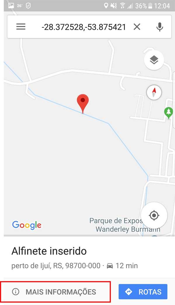 maps - mais informações